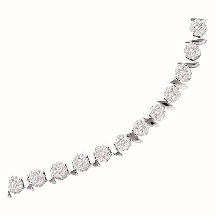 3.0 CT Diamond Flower Bracelet 14K White gold