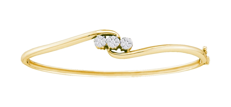 0.25 CT Diamond Flower Bangle 14K Yellow gold
