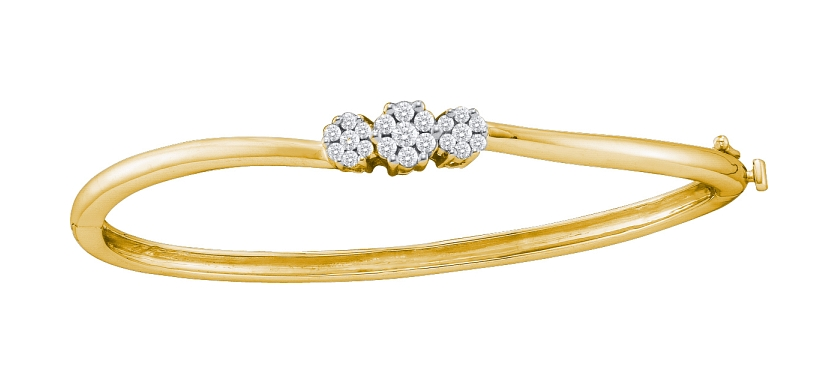 0.50 CT Diamond 3 Flower Bangle 14K Yellow gold