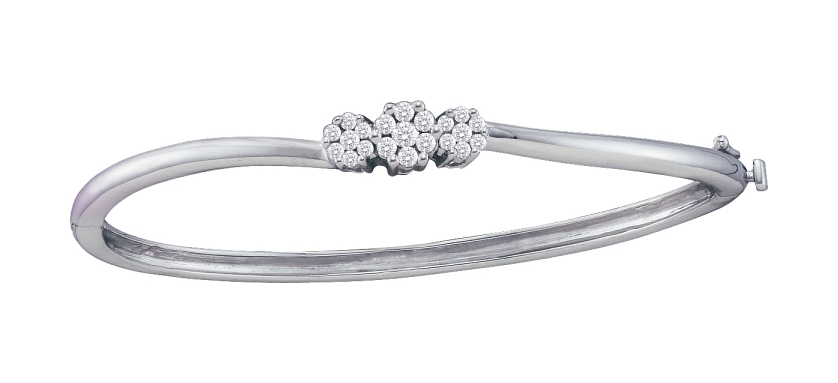 0.50 CT Diamond 3 Flower Bangle 14K White gold