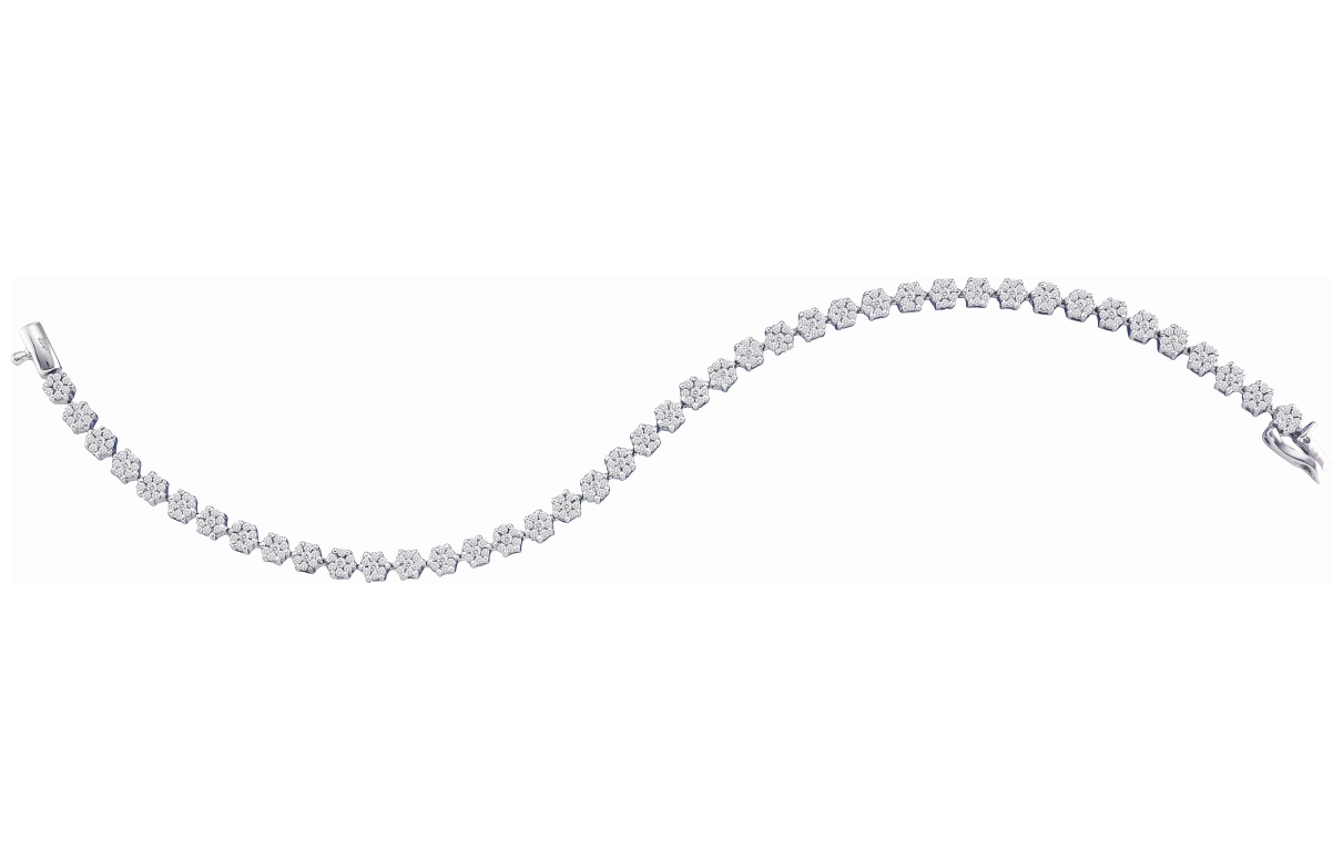 2.00 CT Diamond Flower Bracelet 14K White gold