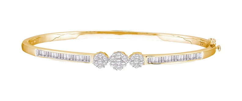 1.00 CT Diamond Flower Bangle 14K Yellow gold