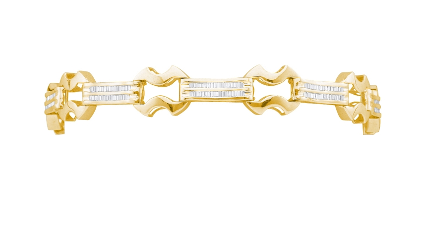 2.00 CT Bagguette Mens Diamond Bracelet Yellow gold