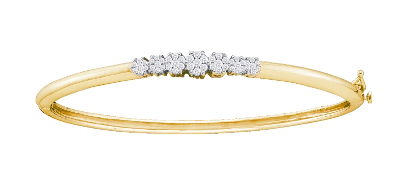 0.50 CT Diamond Flower Bangle 14K Yellow gold