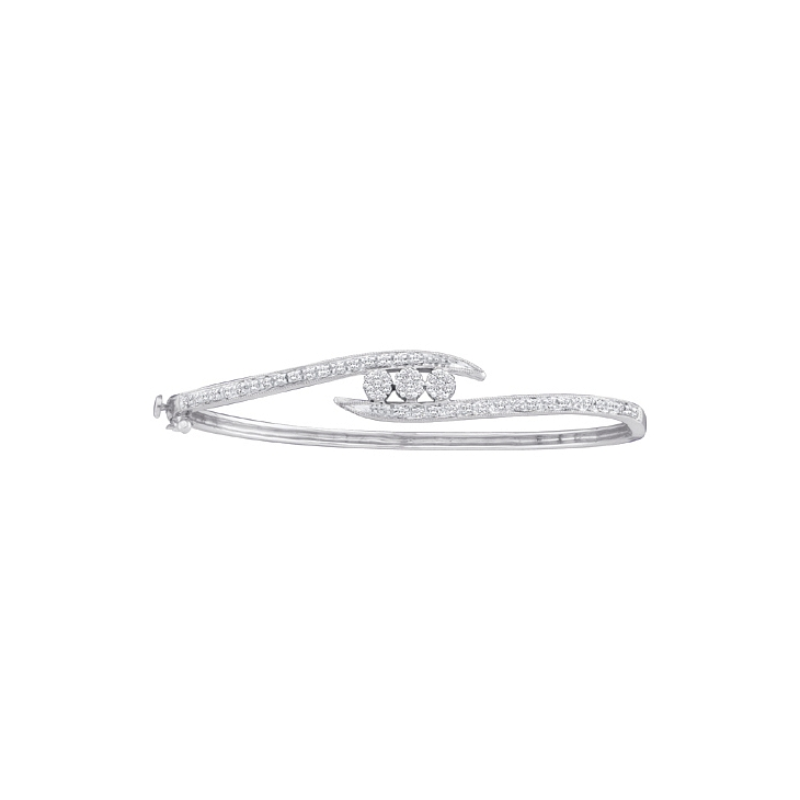 0.50 CT Diamond Flower Bangle 14K White gold