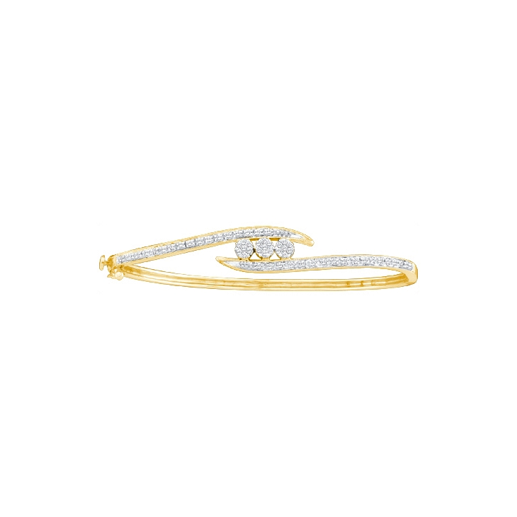 0.50 CT Round Diamond Flower Bangle 14K Yellow gold