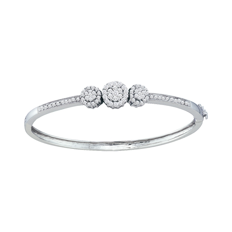 1.05 CT Round Diamond Flower Bangle 14K White gold