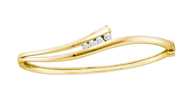 0.38 CT Diamond Bangle 14K Yellow gold