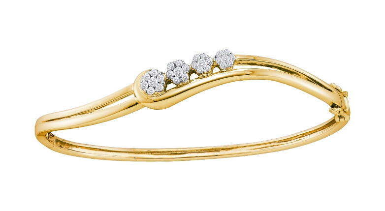 0.51 CT Diamond Flower Bangle 14K Yellow gold