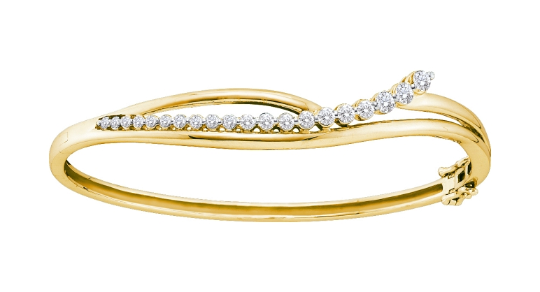 1.00 CT Diamond Journey Bangle 14K Yellow gold