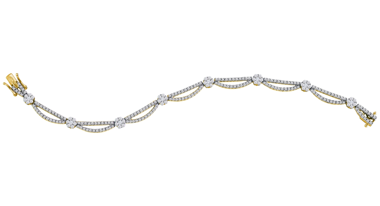 2.75 CT Diamond Flower Bracelet 14K Yellow gold