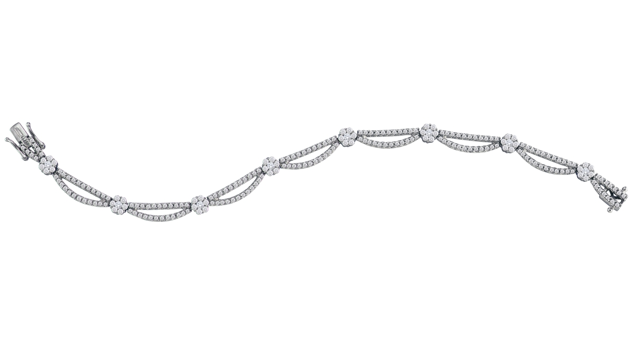2.75 CT Round Diamond Bracelet 14K White gold