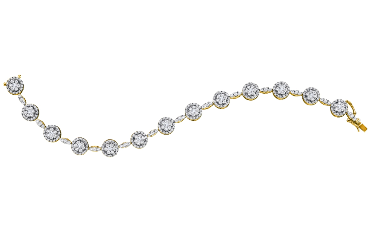 3.52 CT Diamond Flower Bracelet 14K Yellow gold