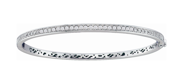 1.00 CT Diamond Bangle 14K White gold
