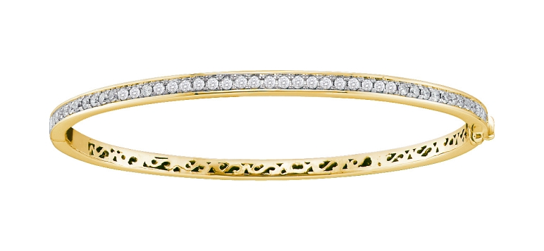 1.00 CT Diamond Bangle 14K Yellow gold