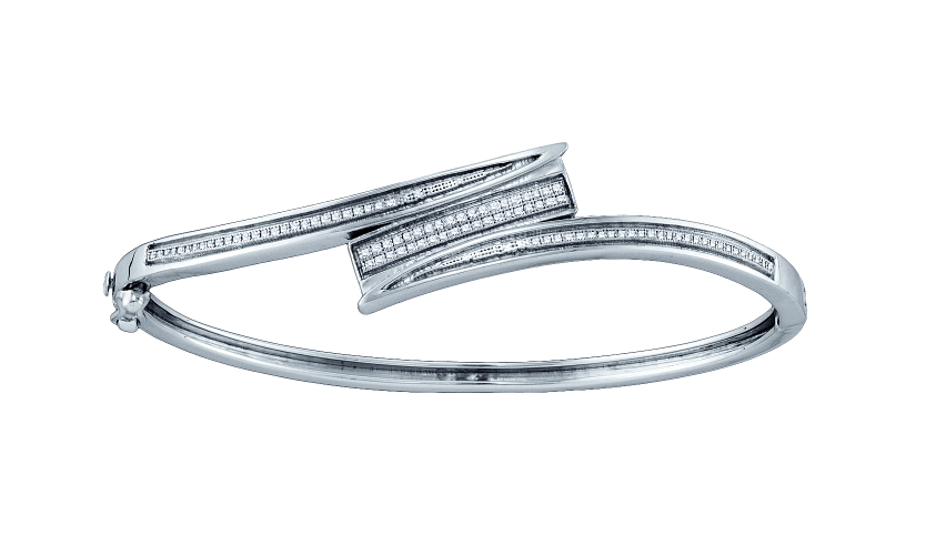 0.28 CT Diamond Pave Bangle 925 Sterling silver