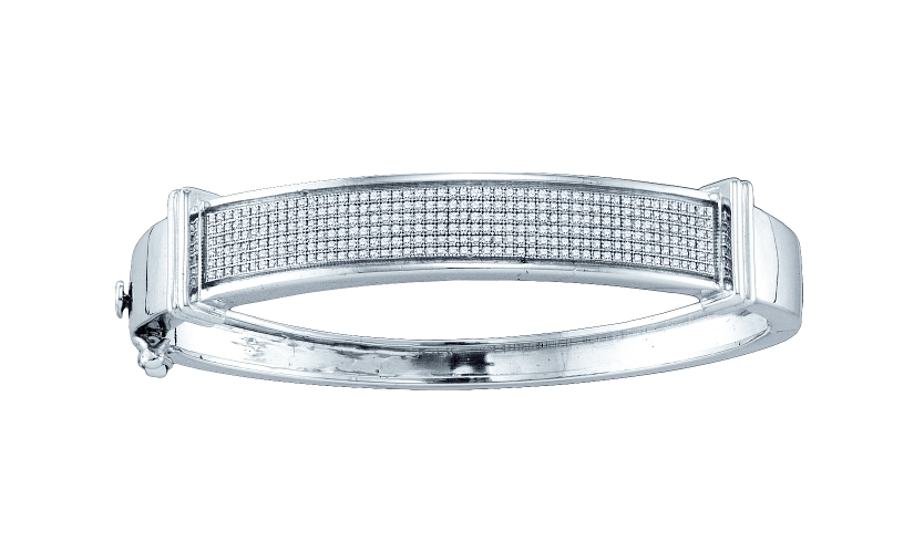0.90 CT Diamond Pave Bangle 925 Sterling silver