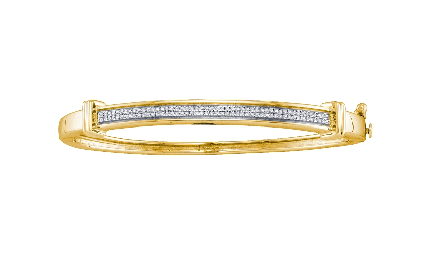 0.30 CT Diamond Pave Bangle Yellow gold