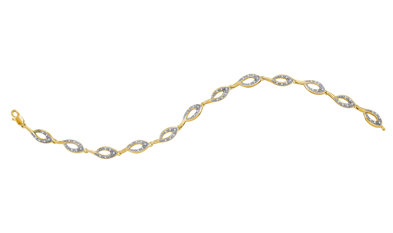 0.20 CT Diamond Pave Bracelet Yellow gold