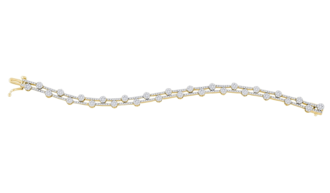 2.72 CT Diamond Flower Bracelet 14K Yellow gold