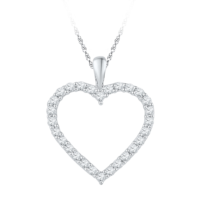 Pave Heart 0.25 CT Diamond Pendant Necklace White gold