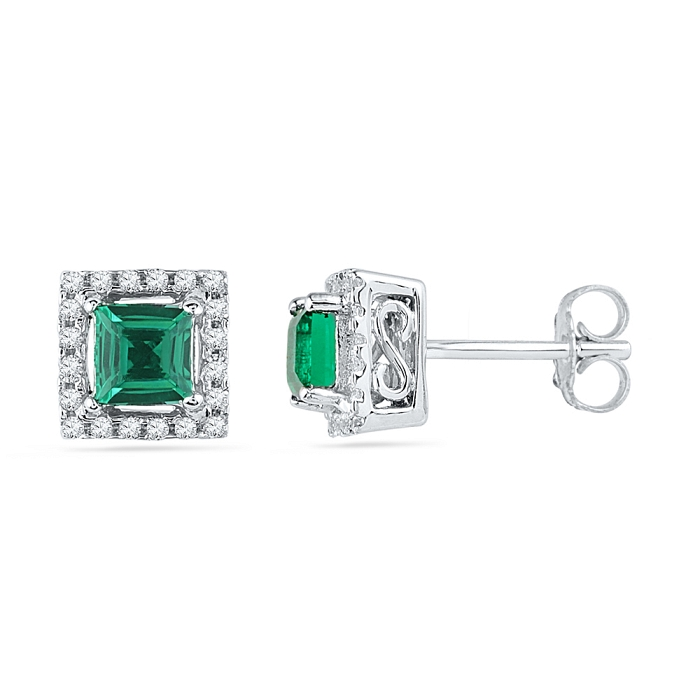 0.12 CT Diamond 1.00 Emerald Earring White gold