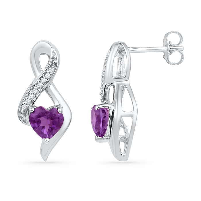 0.051 CT Diamond 0.80 Ct Amethyst Earring White gold