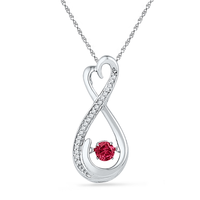 0.06 CT Diamond 0.28 Ct Ruby Pendant Necklace