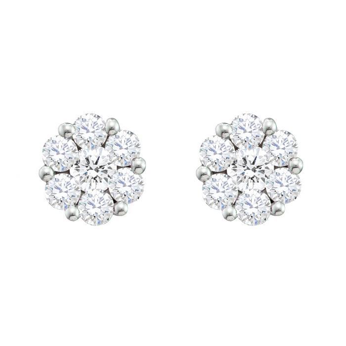 1 50 Ct Round Diamond Flower Earrings
