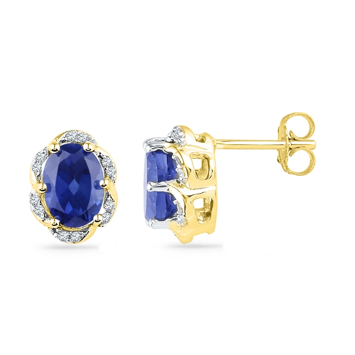 Blue Sapphire Earrings Oval Cut 2.40 Ct