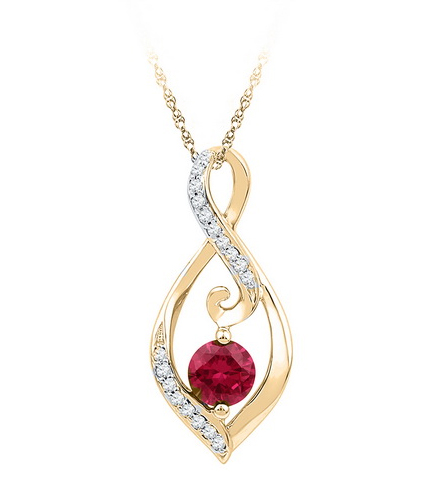 0.09 CT Diamond 0.65 Ct Ruby Pendant Necklace