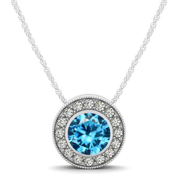 Halo Aquamarine Necklace with Round Pendant