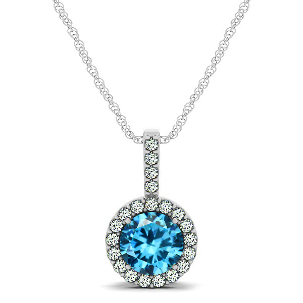 Gorgeous Round Aquamarine Halo Necklace