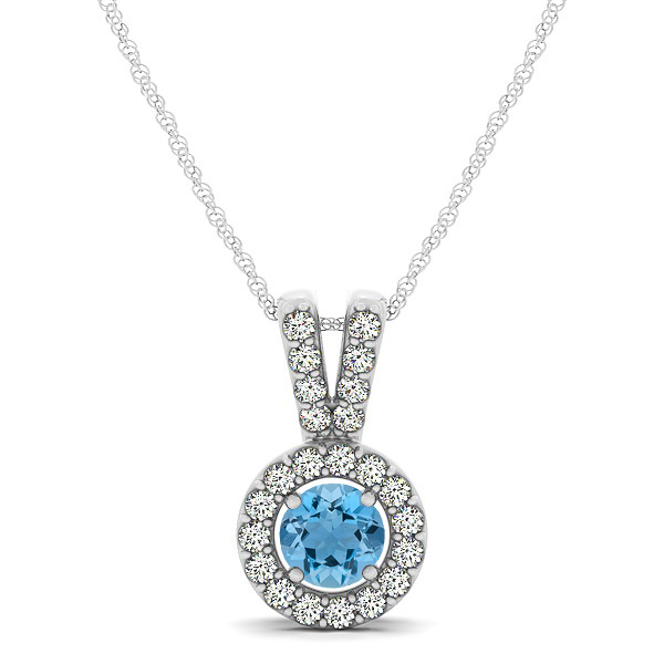 Avant-Garde Round Halo Aquamarine Necklace
