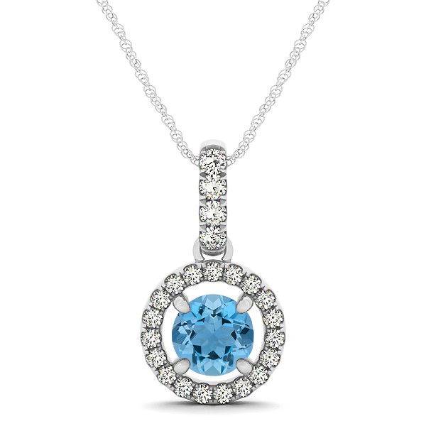 Extraordinary Floating Round Aquamarine Halo Drop Necklace