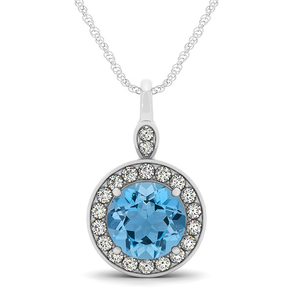 Halo Drop Round Cut Aquamarine Necklace