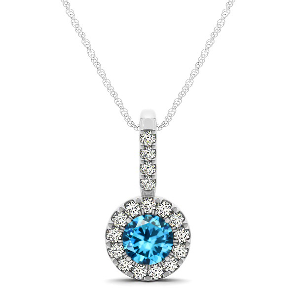 Round Cut Aquamarine Halo Pendant & Necklace