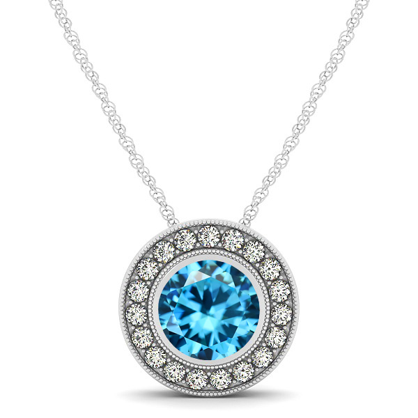 Classy Halo Necklace with Round Cut Aquamarine Pendant