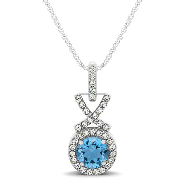 Modern XO Round Aquamarine Pendant Necklace