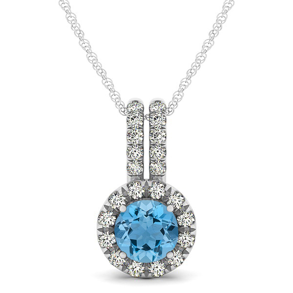 Luxury Halo Drop Necklace with Round Cut Aquamarine Gemstone