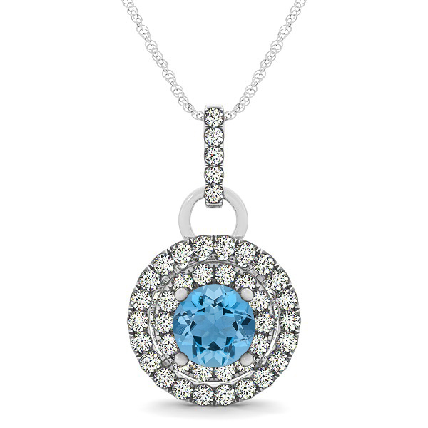 Royal Dual Halo Aquamarine Necklace with Circle Pendant