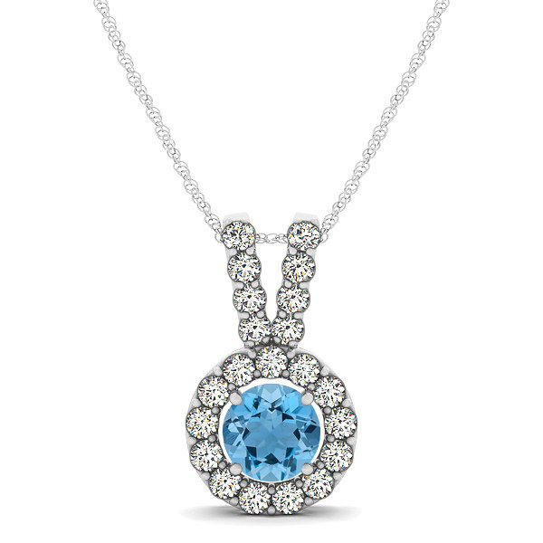 Classique V Neck Halo Necklace with Round Cut Aquamarine