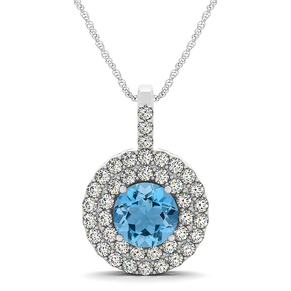 Designer Circle Double Halo Aquamarine Necklace