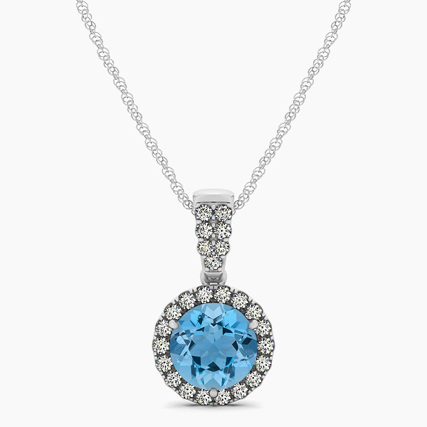 Gorgeous Drop Halo Necklace Round Cut Aquamarine VS1