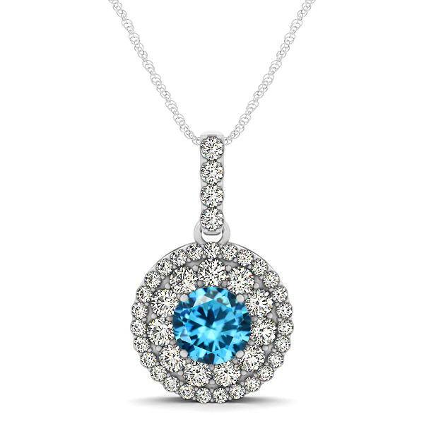 Round Aquamarine Necklace with Twin Halo Pendant