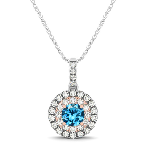 Dual Halo Round Aquamarine Pendant Necklace