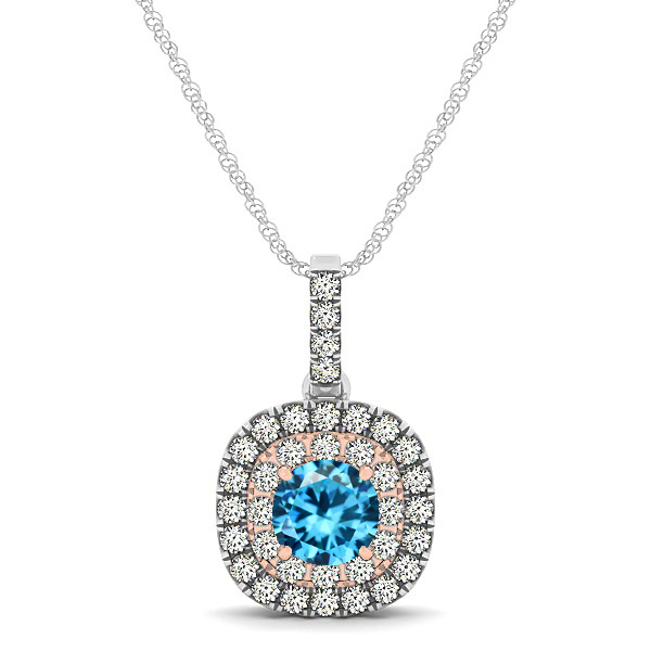 Cushion Shaped Halo Necklace with Round Aquamarine Pendant