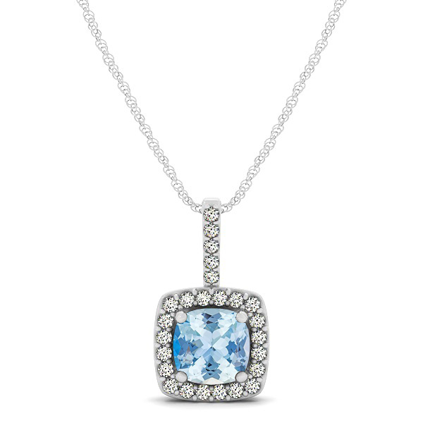 Cushion Aquamarine Square Halo Necklace