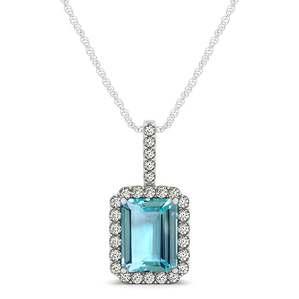 Halo Emerald Cut Aquamarine Necklace Classic Design