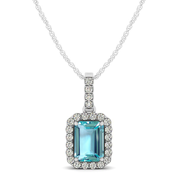 Classic Emerald Cut Aquamarine Necklace with Halo Pendant